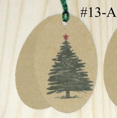 Двойные бирки из крафт-картона с новогодней ёлочкой