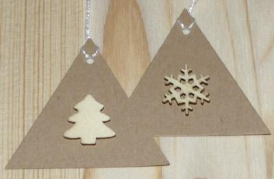 Набор треугольных бирок из толстого крафт-картона к Новому году и Рождеству