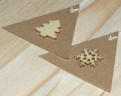 новогодние треугольные бирки из крафт-картона