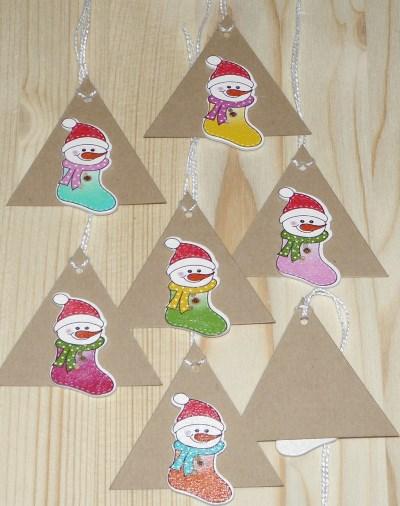 набор бирок с фигурками снеговиков для нового года
