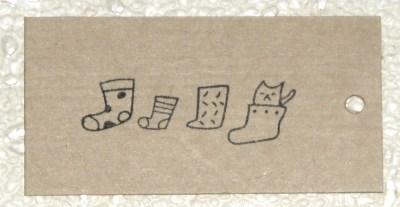 """крафт-бирки для рождества """"кот в носке"""""""