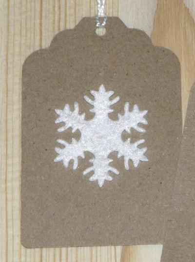 бирки Снежинка из крафт-картона для нового года