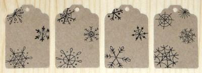 фото: набор из 12 крафт-бирок из картона, 45*30 мм, с узором снежинки, для товаров и подарков в новый год