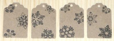 фото: 12 бирок из картона крафт, размер 45*30 мм, со снежинками, для подарков и товаров в новый год