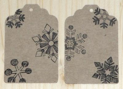 набор №11: 12 картонных бирок со снежинками / фото
