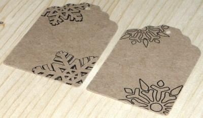 набор из 20 бирок (крафт-картон) со снежинками, для оформления новогодних подарков и сувениров