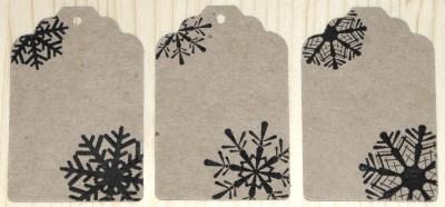 набор бирок из крафт-картона, узор снежинка, для новогодних товаров, подарков и сувениров
