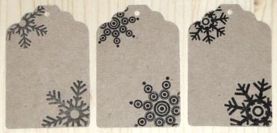 бирки из картона крафт со снежинками, для упаковки новогодних товаров, сувениров и подарков
