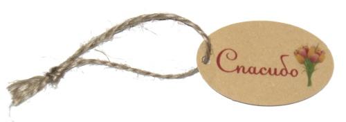бирки из крафт-картона с букетом тюльпанов, с верёвочкой
