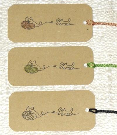 цветные крафт-бирки для вязания, с разноцветными верёвочками, набор 12 шт 30 руб