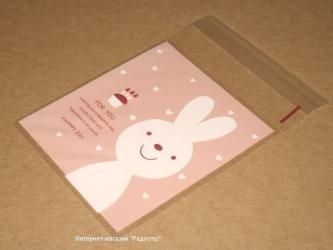 """Пакетики целлофановые """"Зайчик"""" розового цвета, фото"""