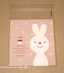 """фото: целлофановые пакеты """"Зайчик"""" розового цвета"""