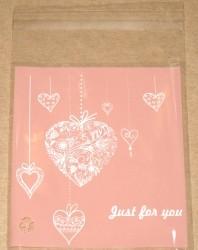 """фото: розовый целлофановый пакет """"Сердце"""" (лот 10 шт)"""