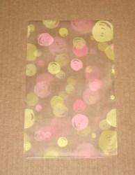"""фото: розово-жёлтые прозрачные целлофановые пакеты """"Мыльные пузыри"""", размер 12х20 см"""