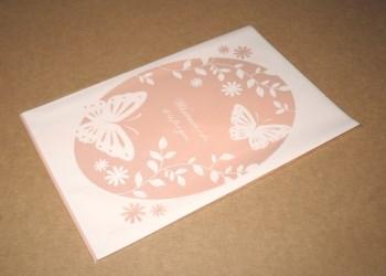 целлофановый пакет 13х19 см с бабочками - общий вид пакетика розового цвета, фото