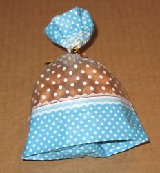 фото: голубой целлофановый пакетик с донышком, размер 9*13 см