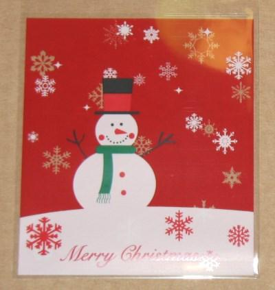 новогодний целлофановый пакет 1. Снеговик в цилиндре фото