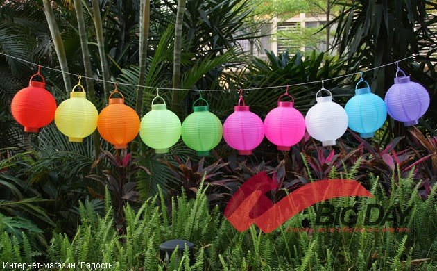 2.03: Подвесные китайские шёлковые фонарики, с подсветкой, на батарейках