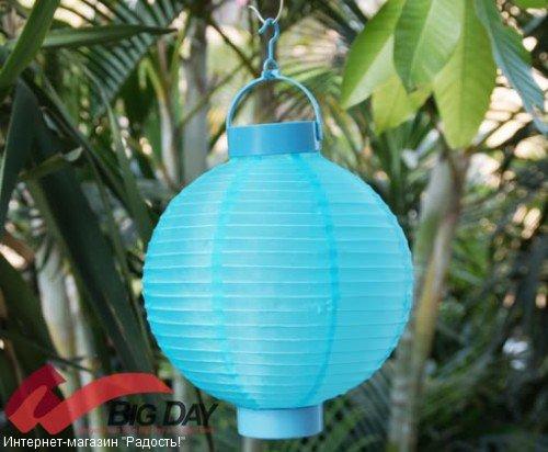 2.03: Голубой подвесной китайский шёлковый фонарик с подсветкой, на батарейках