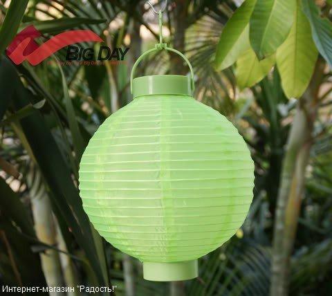2.03: Салатовый подвесной китайский шёлковый фонарик с подсветкой, на батарейках