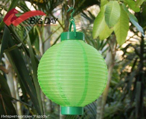 2.03: Зелёный подвесной китайский шёлковый фонарик с подсветкой, на батарейках