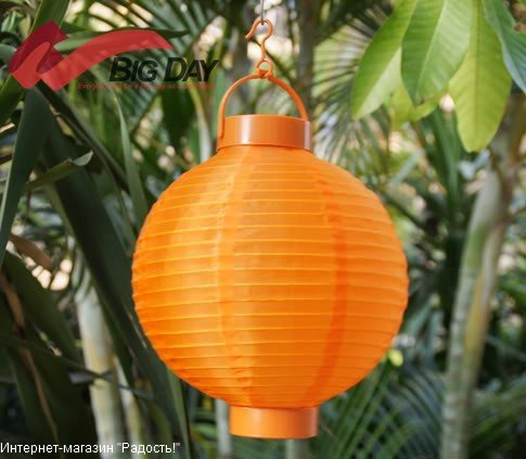 2.03: Оранжевый подвесной китайский шёлковый фонарик с подсветкой, на батарейках