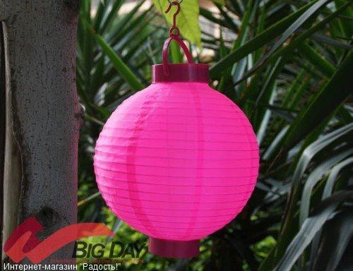 2.03: Насыщенно-розовый подвесной китайский шёлковый фонарик с подсветкой, на батарейках