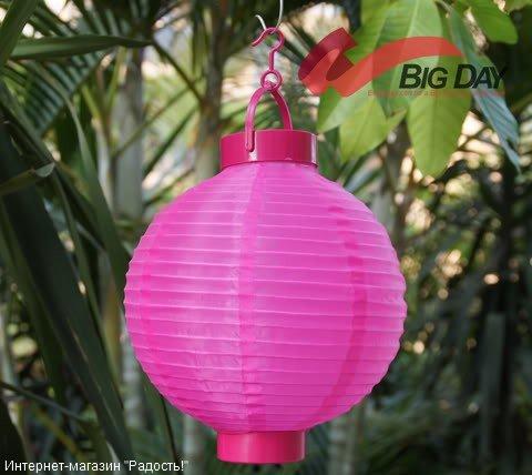 2.03: Тёмно-розовый подвесной китайский шёлковый фонарик с подсветкой, на батарейках