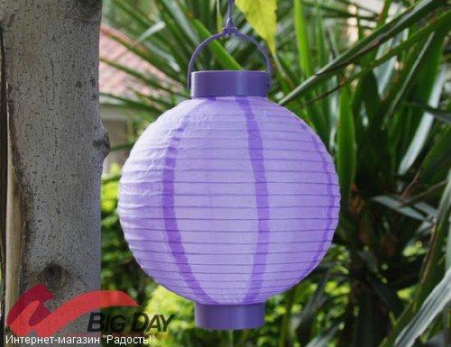 2.03: Сиреневый подвесной китайский шёлковый фонарик с подсветкой, на батарейках