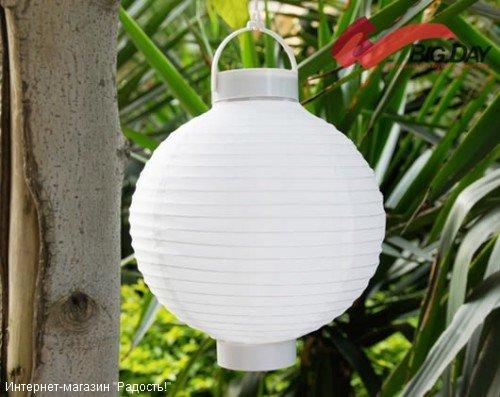 2.03: Белый подвесной китайский шёлковый фонарик с подсветкой, на батарейках
