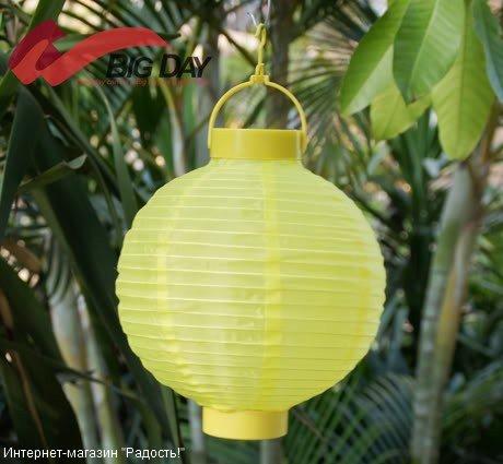 2.03: Жёлтый подвесной китайский шёлковый фонарик с подсветкой, на батарейках