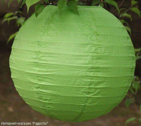 Зелёный бумажный китайский фонарик из набора 2.12: 6 шт, 20 см