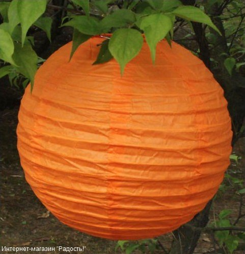 Оранжевый бумажный китайский фонарик из набора 2.12: 6 шт, 20 см