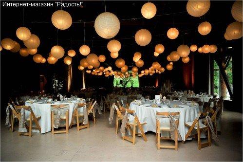 Китайские бумажные подвесные фонарики в интерьере
