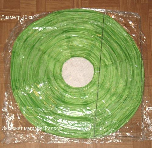 зелёные китайские круглые бумажные подвесные фонарики, диаметр 40 см