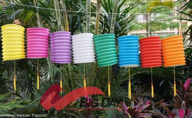 Бумажные подвесные китайские фонарики-цилиндры, 8 цветов