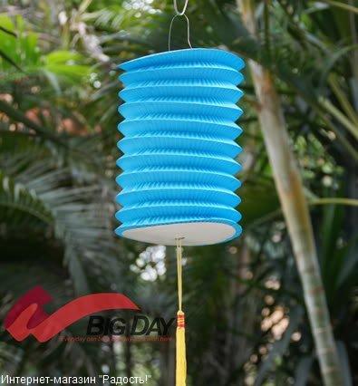 Голубой бумажный китайский фонарик, цилиндрической формы