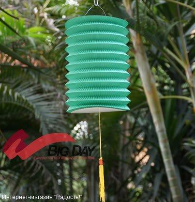 Зелёный бумажный китайский фонарик, цилиндрической формы