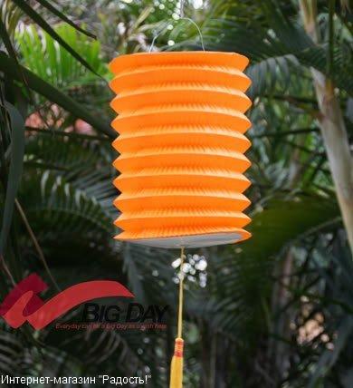 Оранжевый бумажный китайский фонарик, цилиндрической формы
