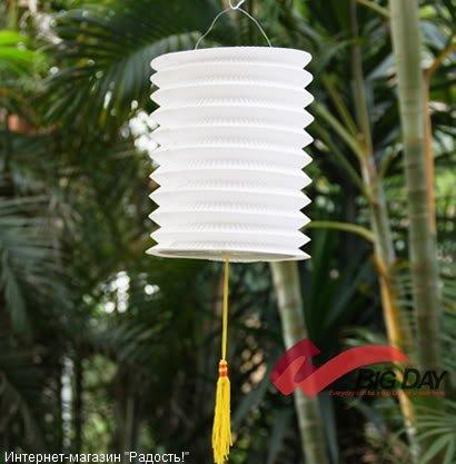 Белый бумажный китайский фонарик, цилиндрической формы