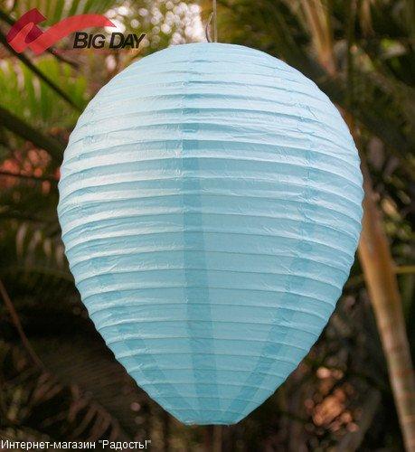 Голубой подвесной китайский фонарик из рисовой бумаги