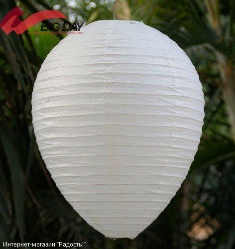 Белый подвесной китайский фонарик из рисовой бумаги