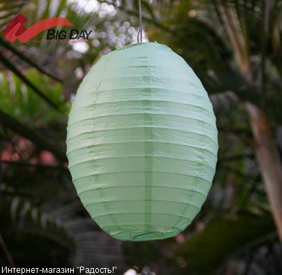 Зелёный бумажный китайский фонарик овальной формы
