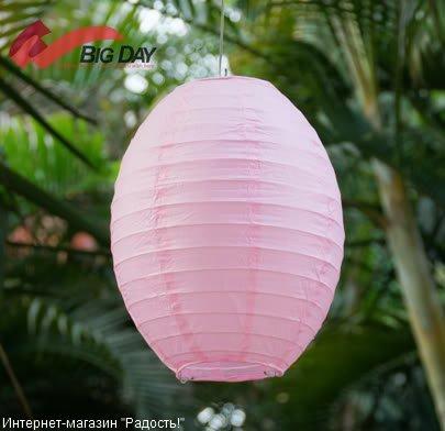 Светло-розовый бумажный китайский фонарик овальной формы