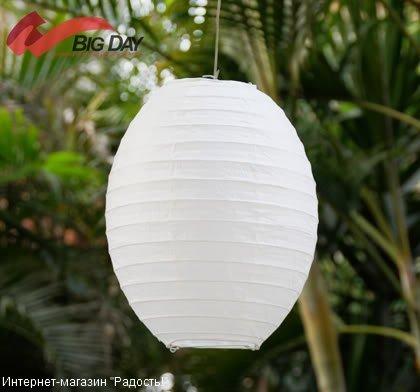 Белый бумажный китайский фонарик овальной формы
