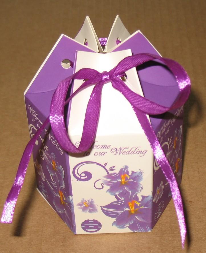 6-угольная свадебная подарочная коробка с лентой, лилового цвета