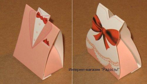 """Картонная свадебная подарочная коробка """"Пастельные тона"""""""