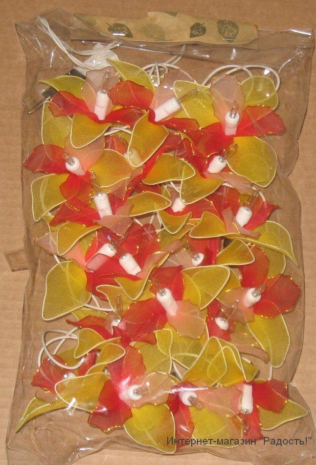 электрическая гирлянда из 20 орхидей с жёлто-красными лепестками