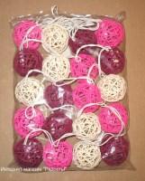 электрическая гирлянда из шаров из ротанга, розовый микс