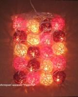 """Цвет - """"розовый микс"""" - электрическая гирлянда из ротанговых шариков, 20 шаров, 350 см"""
